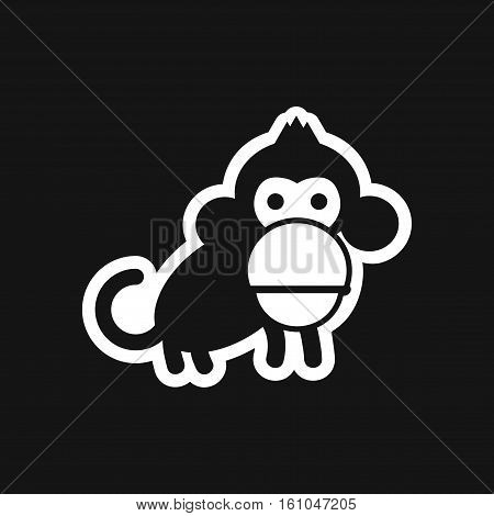 stylish black and white icon small chimpanzee