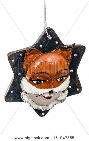 Festive decoration in the shape of a foxy mask isolated on white background
