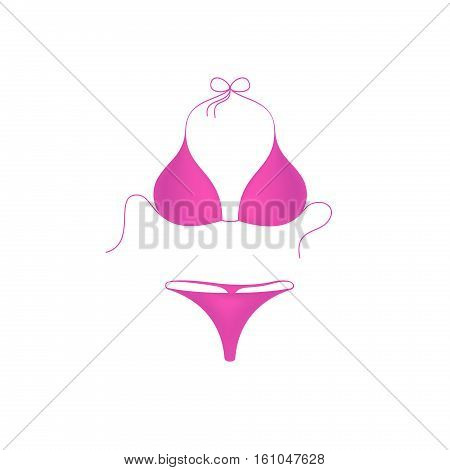 Bikini suit in pink design on white background