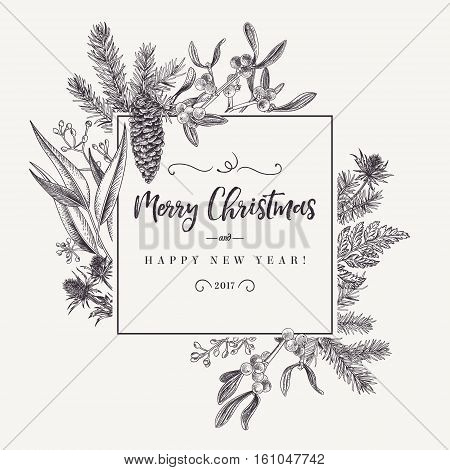 Christmas holiday frame with pine branches mistletoe fern. Black and white. Engraving. Vector design elements isolated on white background.