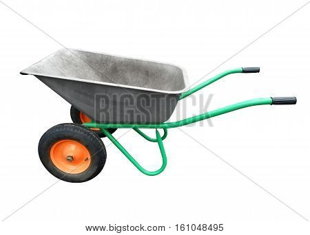 Garden wheelbarrow isolated on white. Clipping Path included.