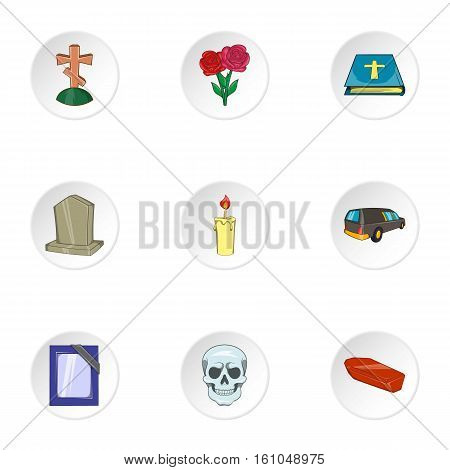 Funeral icons set. Cartoon illustration of 9 funeral vector icons for web