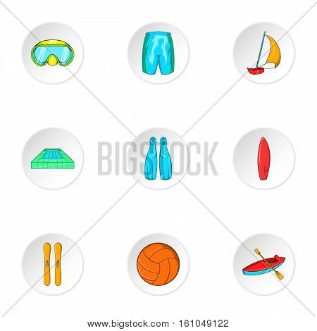 Water stay icons set. Cartoon illustration of 9 water stay vector icons for web