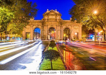 Madrid, Spain cityscape at Puerta de Alcala Gate and Calle de Alcala.