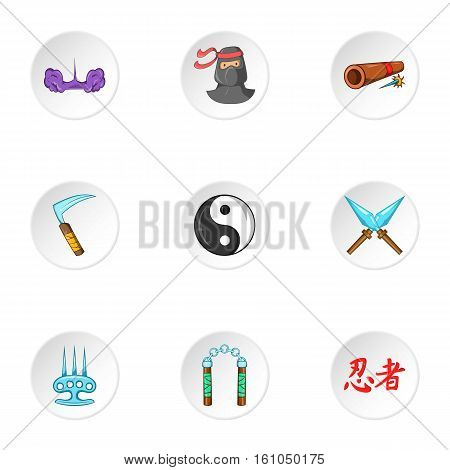 Warrior icons set. Cartoon illustration of 9 warrior vector icons for web