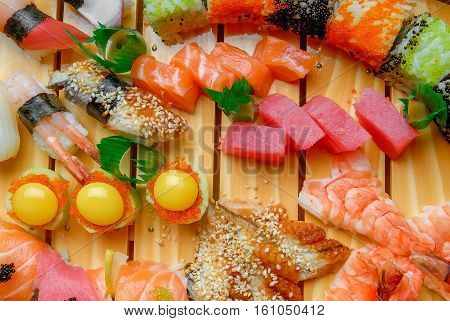 sushi and rolls with fresh fish, Japanese cuisine with fresh seafood