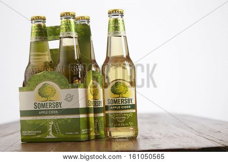 kuala Lumpur Malaysia 2nd December 2016, Somersby cider is a brand of 4.5% abv cider by Danish brewing company Carlsberg Group. Developed in 2008