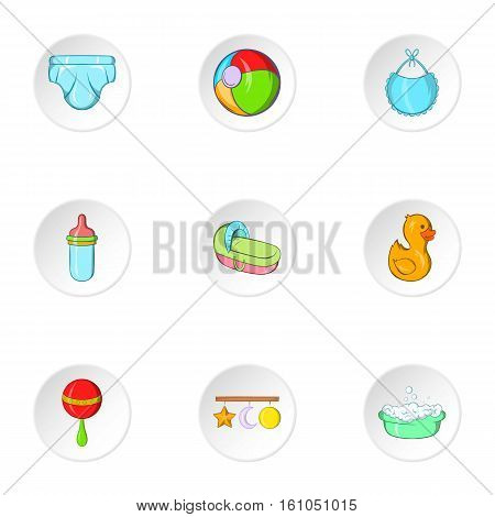 Baby supplies icons set. Cartoon illustration of 9 baby supplies vector icons for web