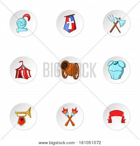 Military armor icons set. Cartoon illustration of 9 military armor vector icons for web