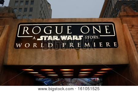 World premiere of 'Rogue One: A Star Wars Story' held at the Pantages Theatre in Hollywood, USA on December 10, 2016.