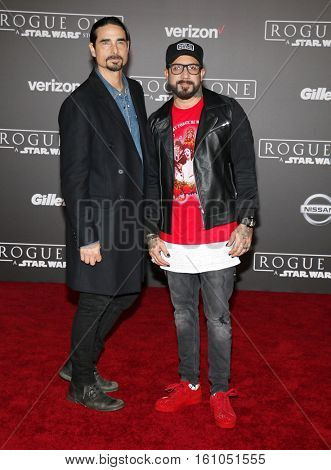 Kevin Richardson and A. J. McLean at the World premiere of 'Rogue One: A Star Wars Story' held at the Pantages Theatre in Hollywood, USA on December 10, 2016.