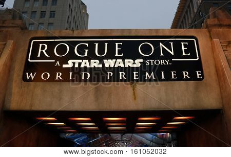 Entrance at the World premiere of 'Rogue One: A Star Wars Story' held at the Pantages Theatre in Hollywood, USA on December 10, 2016.