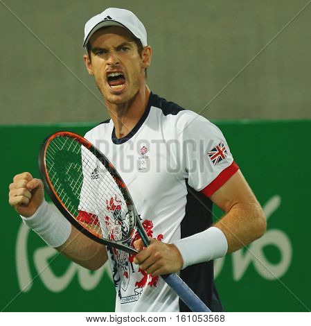 RIO DE JANEIRO, BRAZIL - AUGUST 14, 2016: Olympic champion Andy Murray of Great Britain in action during men`s singles final of the Rio 2016 Olympic Games at the Olympic Tennis Centre
