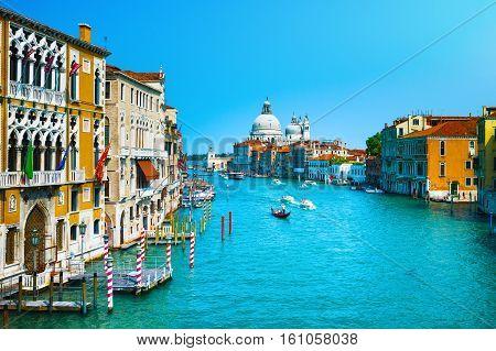 Venice grand canal view Santa Maria della Salute church landmark. Italy Europe.