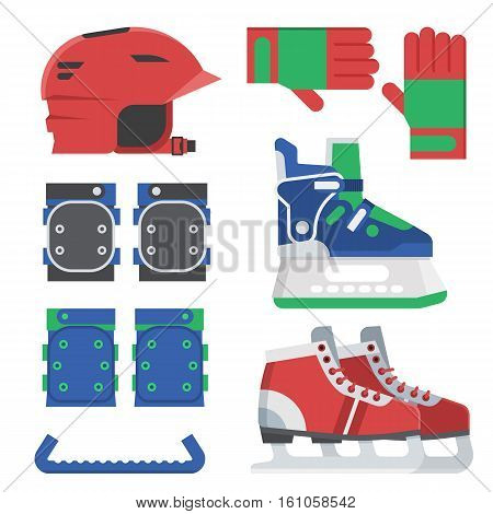 Ice skating gear and equipment set. Ice-skates shoes, knee and elbow protection, gloves and red sport helmet.