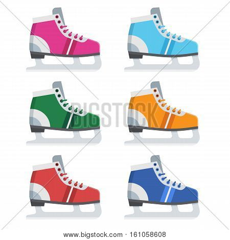Figure ice skating shoes in different colors. Various ice-skates vector illustration.