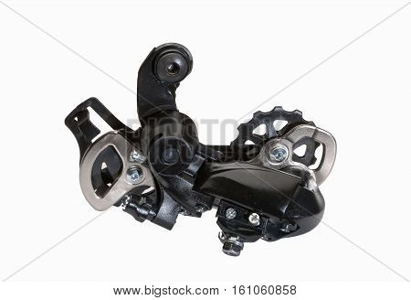 Rear gearshift isolated on white. Bicycle cycling road race sport transmission change speed