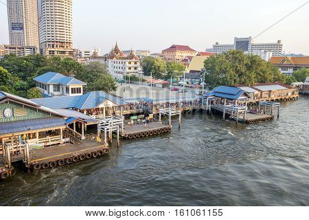 BANGKOK january 2 :Ferry boat at Chao Phraya River, Chao Phraya River is a major river in Thailand,more ferry boat for transport service.on january 2, 2015 in Bangkok, Thailand
