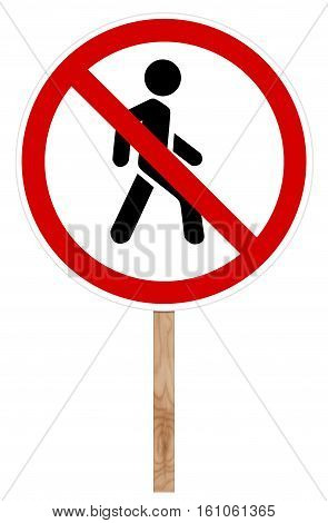 Prohibitory traffic sign isolated on white 3D illustration - Pedestrian