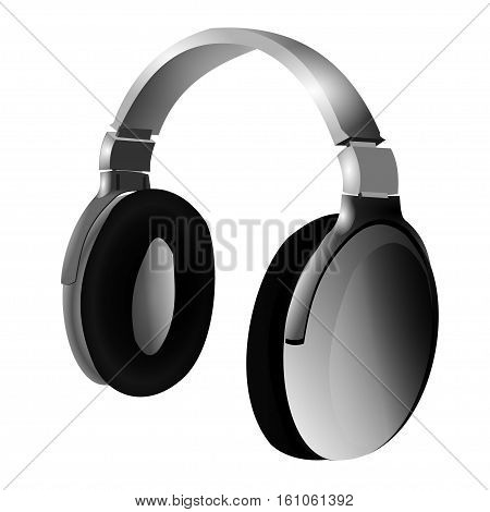 Overhead music headphones on a white background. Vector illustration