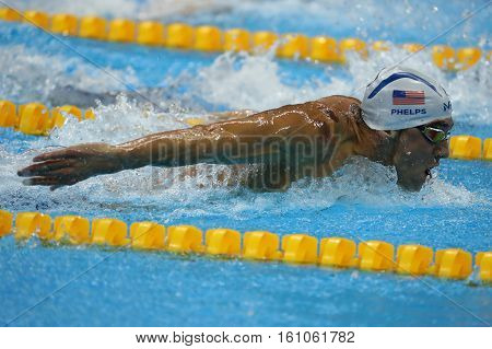 RIO DE JANEIRO, BRAZIL - AUGUST 8, 2016: Olympic champion Michael Phelps of United States swims the Men's 200m butterfly Heat 3 of Rio 2016 Olympic Games at Olympic Aquatic Stadium