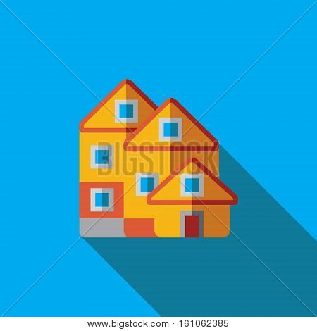 Vector icon or illustration showing real estate business with house in flat design style with long shadow