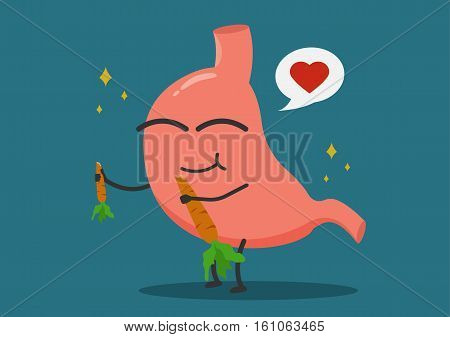 Healthy food eating concept illustration.stomach eat vegetable.