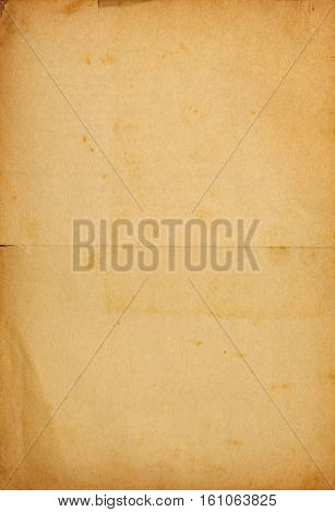 Vintage paper background with text imprint folds and stains