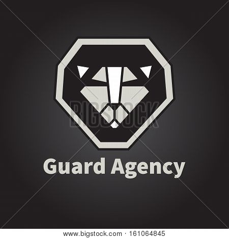 Icon of lion. Vector logo for security Agency. Line head of animal. Symbol of strong, pride, protection. Geometric design illustration Leo.