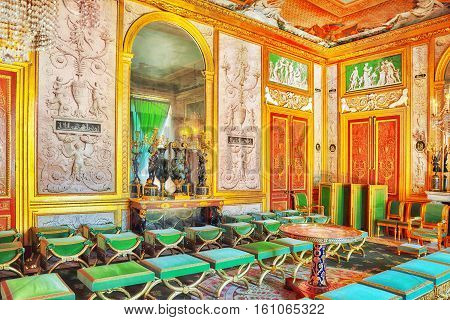 Fontainebleau, France - July 09, 2016 : Fontainebleau Palace Interiors. The Empress Great Salon. Cha