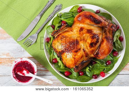 Whole Chicken Roasted In Oven On White Plate With Salad