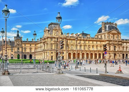 Paris, France - July 06, 2016 : Louvre Museum With People (tourists). The Louvre Is The Biggest Muse