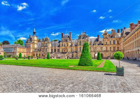 Fontainebleau, France- July 09, 2016 : Suburban Residence Of The France Kings - Facade  Beautiful Ch
