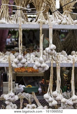 Stacked rows of fresh braided garlic displayed in front of an store at the outdoor/indoor Jean-Talon Market in Montreal, Quebec, on a bright day in September.