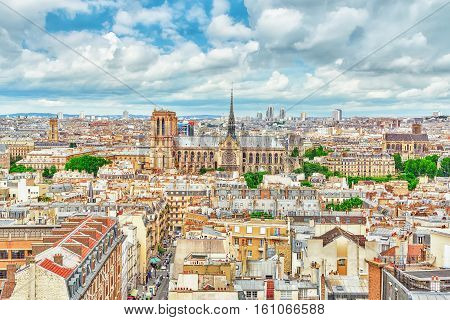 Beautiful Panoramic View Of Paris From The Roof Of The Pantheon. View On Notre Dame De Paris.