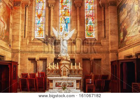 Paris, France - July 04, 2016 : Iinterior Of  Roman Catholic  Church And Minor Basilica Sacre-coeur,