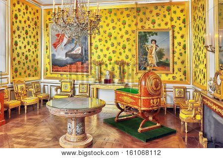 Fontainebleau, France - July 09, 2016 : Fontainebleau Palace Interiors. Room King Of Rome, A Predict