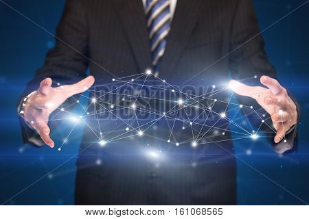 Businessman with network connection concept between his hands