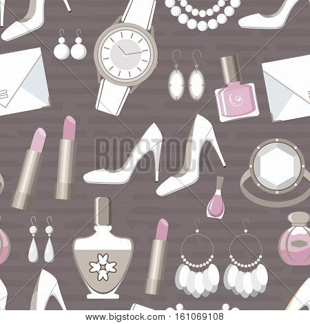Seamless fashion pattern. Pink and grey colors. vector