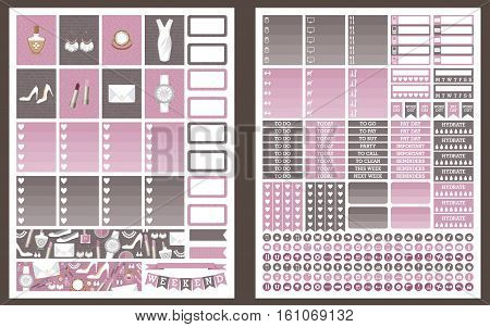 Stickers for planner grey and pink colors