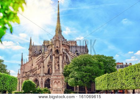 Notre Dame De Paris Cathedral, Most Beautiful Cathedral In Paris. East Side Of The Cathedral. France