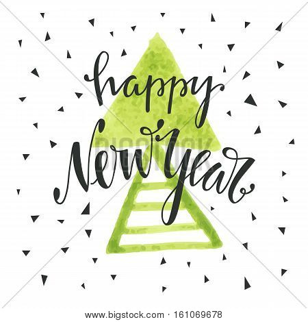 Happy new year hand drawn lettering. Holiday vector illustration with lettering composition. Happy new year 2017 card. Modern typography. Background for flyer, poster, sign, banner, web, header.