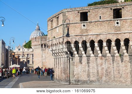 Tourists Near Walls Of Castel Sant Angelo In Rome