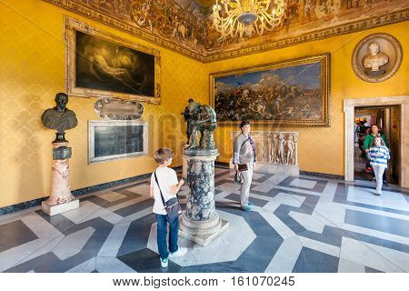 People In Room Of Capitoline Museums In Rome City