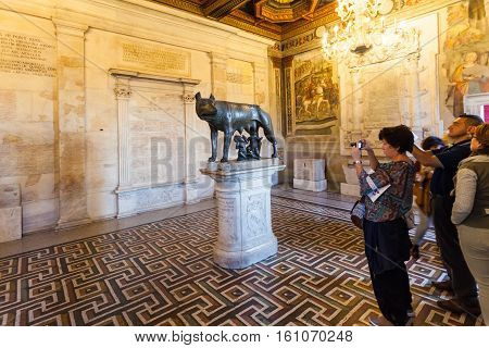 Tourists In Room Of Capitoline Museums, Rome