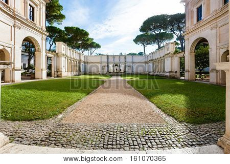 Courtyard Of Villa Giulia In Rome City