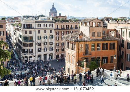 View Of People And Piazza Di Spagna In Rome.