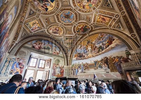 Visitors In Room Of The Signatura In Vatican