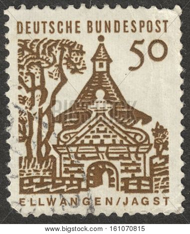 MOSCOW RUSSIA - CIRCA NOVEMBER 2016: a post stamp printed in GERMANY shows Castlegate Ellwangen (Jagst) the series