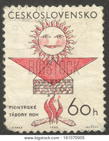 MOSCOW RUSSIA - CIRCA NOVEMBER 2016: a post stamp printed in CZECHOSLOVAKIA dedicated to Pioneer Camps the series